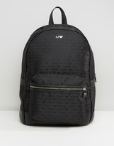 Armani Jeans All Over Logo Backpack In Black