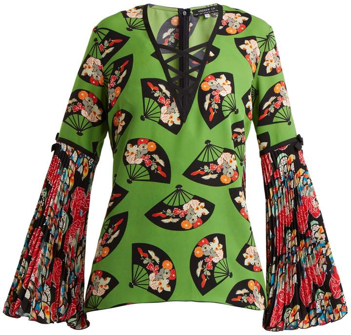 Andrew Gn Flared-sleeve fan-print silk top