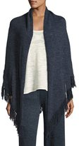 Minnie Rose La Playa Fringe Shawl, Navy, Plus Size