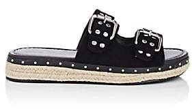 Barneys New York WOMEN'S STUDDED SUEDE ESPADRILLE SLIDE SANDALS - BLACK SIZE 7