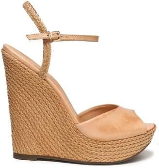 Schutz Leather Espadrille Wedge Sandals