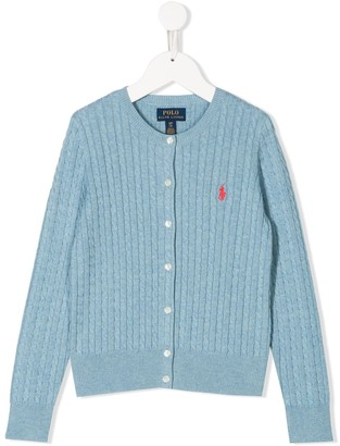Ralph Lauren Kids Embroidered Logo Cable Knit Cardigan