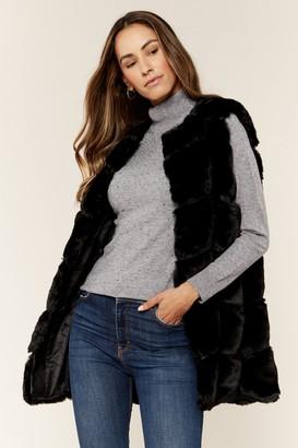 Gini London Black Box Cut Faux Fur Gilet Jacket