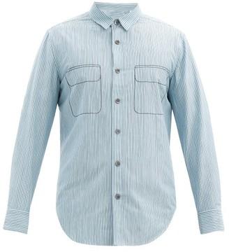 Equipment Embroidered Striped Cotton-blend Poplin Shirt - Light Blue