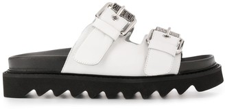 Moschino Logo Plaque Buckled Sandals