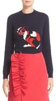 MSGM Women's Intarsia Knit Cat Sweater