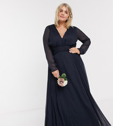 Asos DESIGN Curve Bridesmaid ruched waist maxi dress with long sleeves and pleat skirt