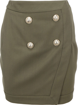 Balmain Double-Breasted Wrap Skirt