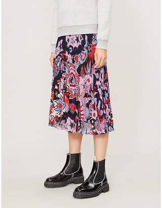 Claudie Pierlot Sezameh graphic-pattern crepe midi skirt