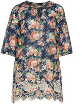 Isolde Roth Plus Size Printed crochet hem tunic