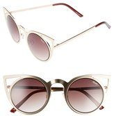 Quay Junior Women's 'Invader' 50Mm Cat Eye Sunglasses - Gold/ Brown Lens