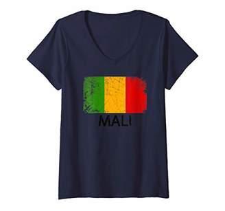 Womens Malian Malinese Flag | Vintage Made In Mali Gift V-Neck T-Shirt