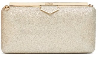 Jimmy Choo Ellipse Glittered Clutch - Womens - Silver