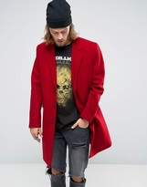 Asos Wool Mix Overcoat In Red