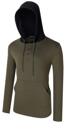 Lintimes Men's Long Sleeve Pullover Hoodie Slim Fit Hooded Sweatshirt with Kangaroo Pocket Color:Army Green Size:XL