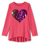 Lands' End Girls Plus Graphic Ruffle Back Legging Top-Sequin Heart