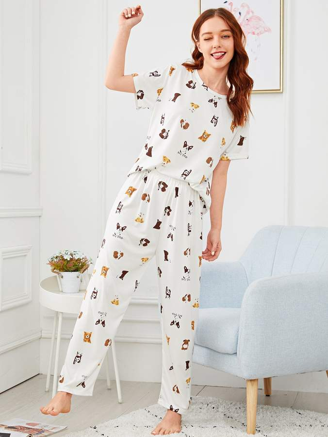Allover Dog Print Pajama Set