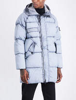 Stone Island Mens Black Printed Concealed zip Dust Frost-Print Padded Parka Jacket