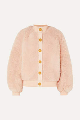 Balmain Button-embellished Leather-trimmed Shearling Jacket - Pink