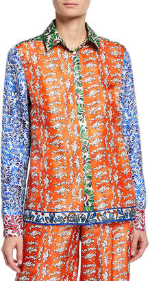 Escada Ceramic Print Button-Front Blouse