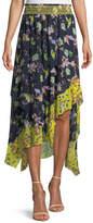 Tanya Taylor Esmee Silk Garden-Print High-Low Skirt
