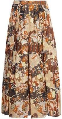 Chloé Printed Fil Coupe Silk Midi Skirt