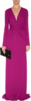 Issa Jersey High Twist V-Neck Gown in Verbena