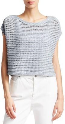 Eileen Fisher Crochet Short-Sleeve Sweater
