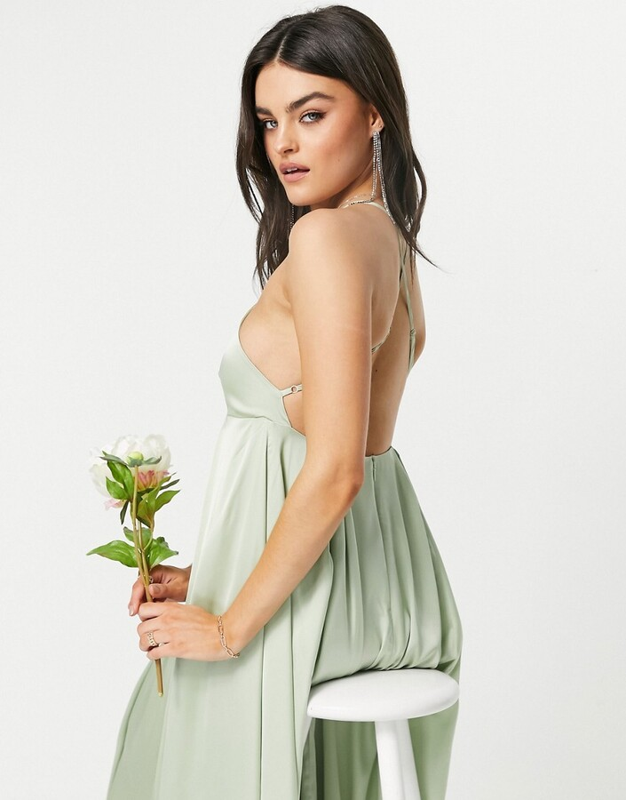 Thumbnail for your product : Y.A.S Bridesmaid maxi dress with plunge cross front in green