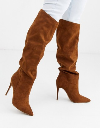 Steve Madden Dakota slouchy stiletto heeled boots in tan