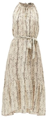 Heidi Klein Snake-print Dipped-hem Silk Midi Dress - Beige Multi