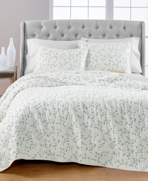 Martha Stewart Collection Embroidered Leaves Reversible Twin/Twin Xl Quilt, Created for Macy's