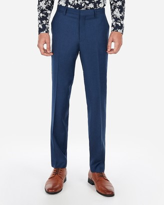 Express Extra Slim Blue Wool-Blend Stretch Suit Pant