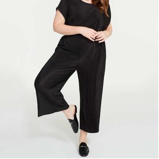 Joe Fresh Women+ Jersey Culotte Pants, JF Black (Size 1X)
