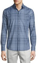 Theory Sylvain Check Long-Sleeve Sport Shirt, Fading Multi