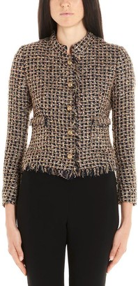 Tagliatore Fringed Button-Up Tweed Jacket