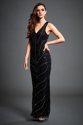 MONICA Jywal London Black Embellished Evening Maxi Dress