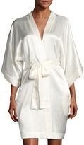 Neiman Marcus Contrast-Trimmed Silk Kimono Robe