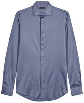 Pal Zileri Blue Fine-knit Cotton Jersey Shirt