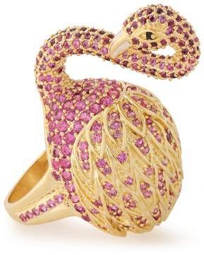 Noir 14-karat Gold-plated Crystal Ring