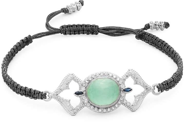 Armenta Women's New World Diamond & Gemstone Doublet Open Oval Braided Bracelet