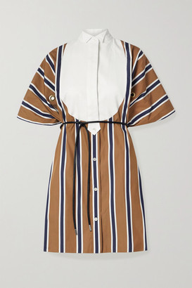 Sacai Belted Paneled Striped Poplin And Pique Mini Dress - Brown