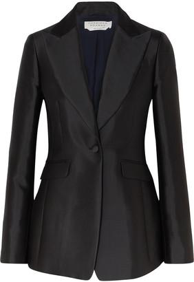Gabriela Hearst Serge Pearl-embellished Silk And Wool-blend Blazer