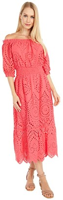 Cupcakes And Cashmere Eve - Cotton Eyelet Off-the-Shoulder Midi Dress with Smocked Waist (Pink) Women's Clothing