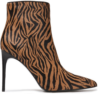 Alice + Olivia Celyn Zebra-print Calf Hair Ankle Boots