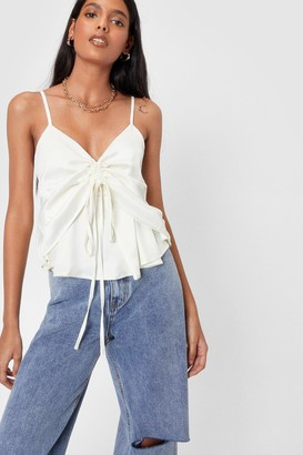 Nasty Gal Womens Alway's in a Ruche Satin Cami Top - Cream