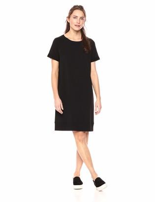 Daily Ritual Women's Terry Cotton and Modal Roll-Sleeve Sweatshirt Dress