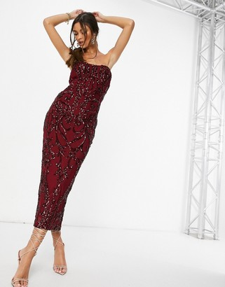 I SAW IT FIRST sequin bandeau midaxi dress in red