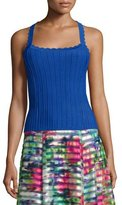 Nanette Lepore Sleeveless Ribbed Top with Scalloped Straps