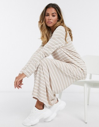 ASOS DESIGN long sleeve maxi t-shirt dress in taupe and white stripe